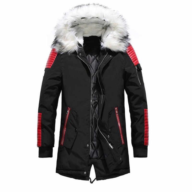 2018 зимняя мужская хлопковая куртка, повседневное теплое пальто с большим меховым воротником, ветровка с капюшоном, длинный пуховик большого размера