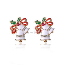 Christmas boutique chic Han edition of fashion Small bell stud earrings christmas theme SANTA CLAUSE