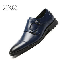 Plus Size 48 Men Formal Dress Shoes Pointed Toe Vintage Gentlemen Doubt Buckle Monk Strap Slip On Oxford