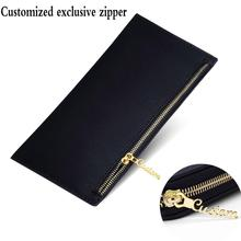 Customize Name Zipper Wallet Men Business Leather Hand Holding Long Section Multifunction Wallets Clip