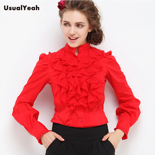 UsualYeah New spring Women Fashion OL Stand Collar Ruffles Lantern sleeve Body Blouse Shirts blusas S-M-L-XL SY0133 White Red