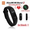 EM ESTOQUE! 100% original xiaomi mi banda 2 miband2 pulseira pulseira inteligente com banda de freqüência cardíaca de fitness inteligente touchpad tela oled