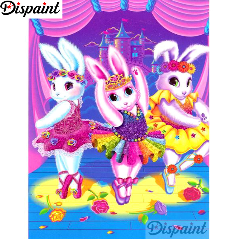Dispaint Full Square Round Drill 5D DIY Diamond Painting quot Cartoon rabbit quot 3D Embroidery Cross Stitch Home Decor Gift A12687 in Diamond Painting Cross Stitch from Home amp Garden