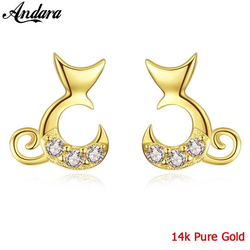 Nouveau bijoux en or jaune 14 k véritable boucles d'oreilles rondes lisses femmes cadeaux de fiançailles de mariage