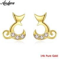 Pure 14k Yellow Gold Cute Cat Women Stud Earrings Wedding Fine Jewelry