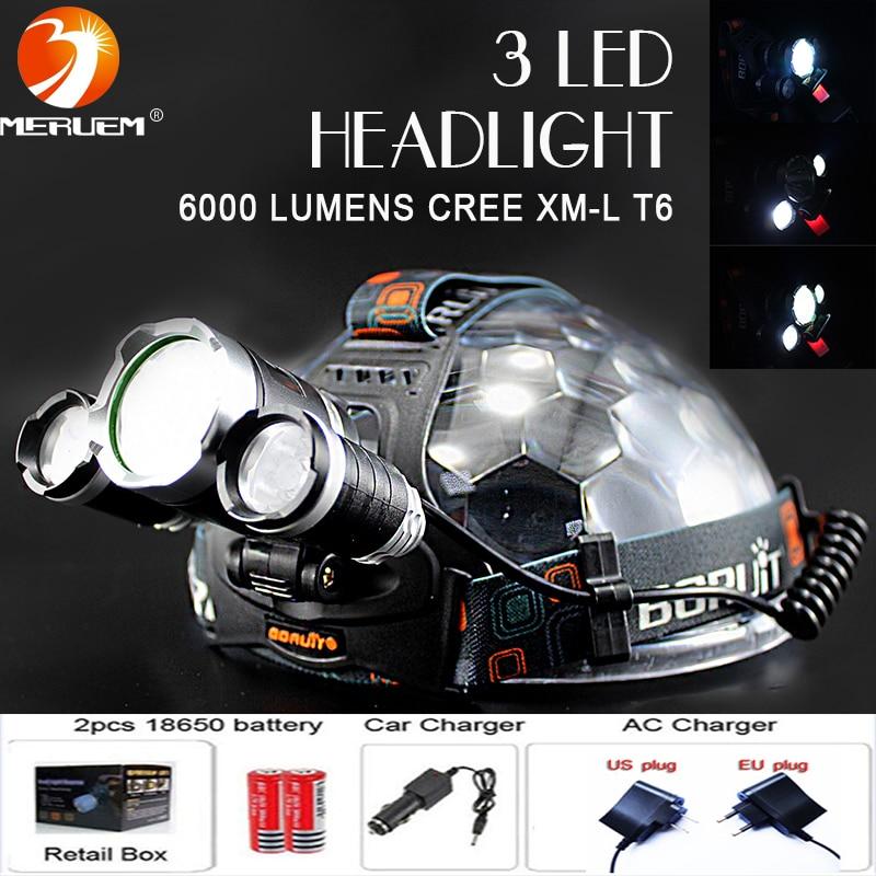 ФОТО Boruit RJ3000 6000LM CREE XML T6+2R5 3LED Headlight,Headlamp,Fishing,Head Lamp Light+18650 battery+EU/US Plug+Car Charger