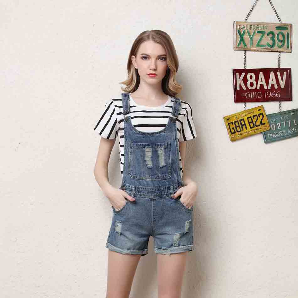 new denim shorts women jeans slim strap overalls washed casual jeans