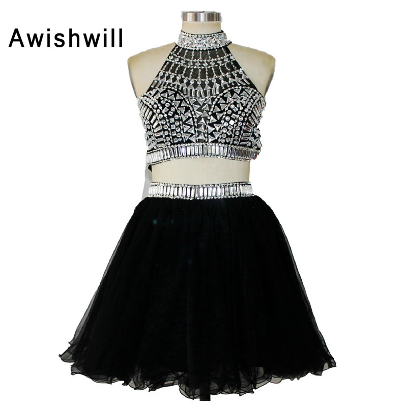 New Fashion Vestido De Festa Curto De Luxo Black Color Sparkly Beads Crystals Short Mini 2 Pieces Party   Cocktail     Dress