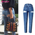 New 2017 Fashion Jeans Woman Sexy Hip Hole Destroyed Denim Jeans High Waist Hip Lift Womens Jeans Trousers Female Pants