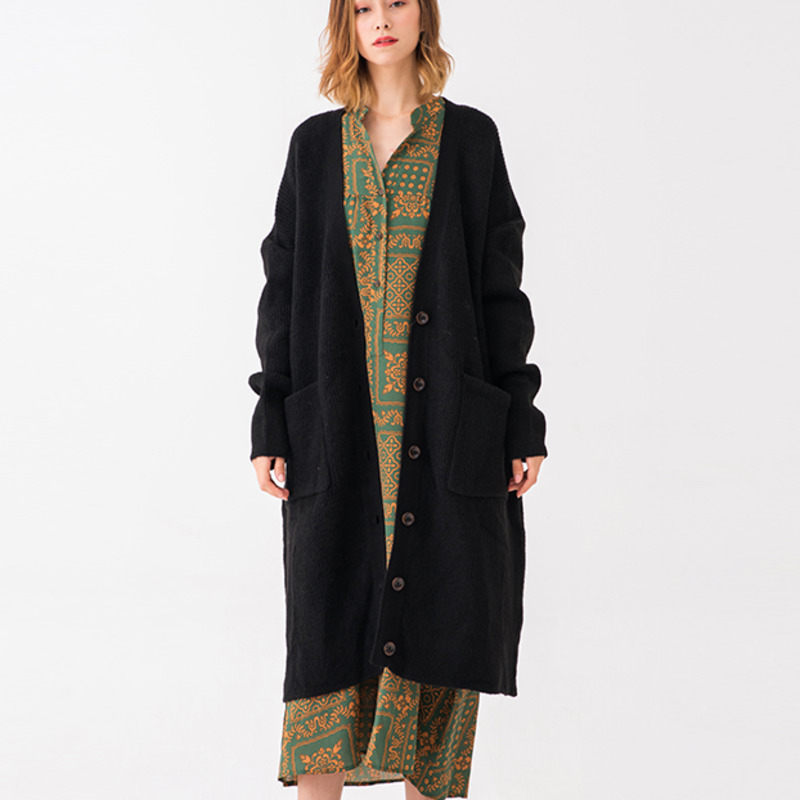 cuello Conciso Knitting Invierno Da576 2018 01 De V Nuevo Coat Patrón Larga  Cardigan Manga Suéter Todo fósforo 04 Otoño ... b6985dd06a17