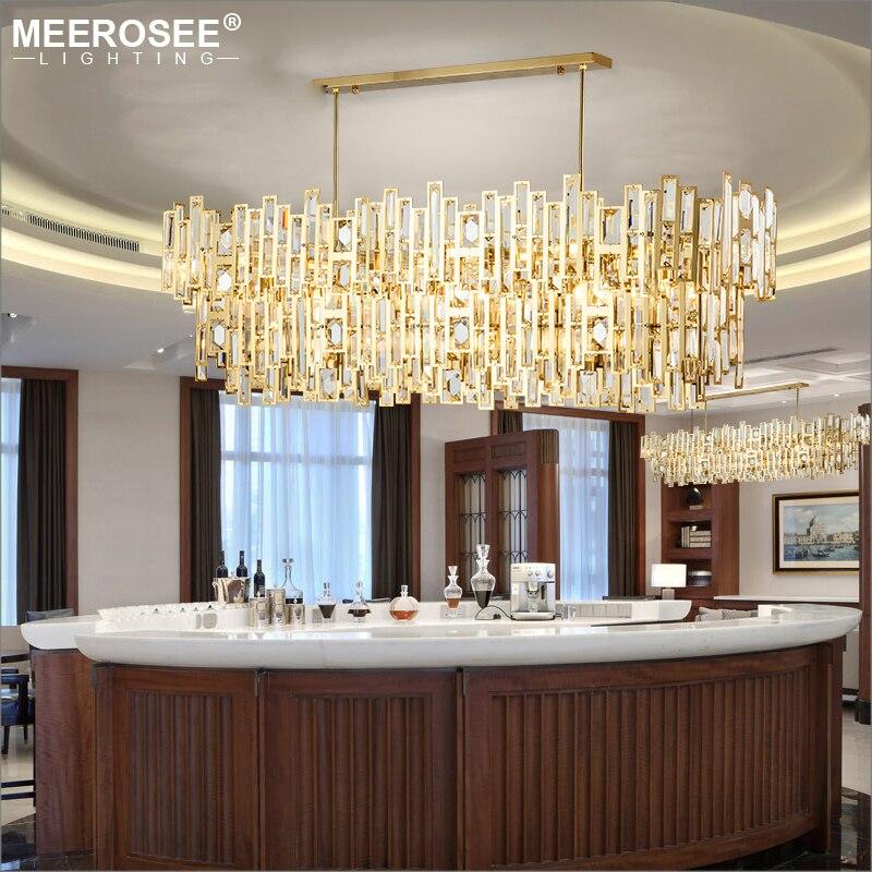 Luces colgantes de cristal LED modernas, lámpara colgante de estilo North Europe para comedor, iluminación colgante rectangular