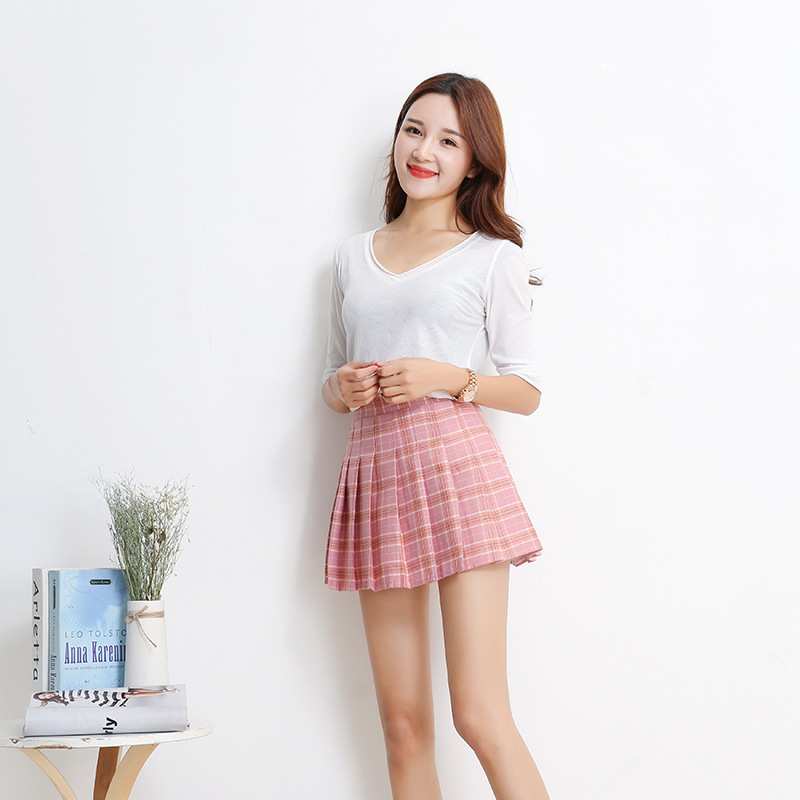MSAISS Mode D'été taille haute plissée jupe Vent Cosplay plaid jupe kawaii Femelle Jupes