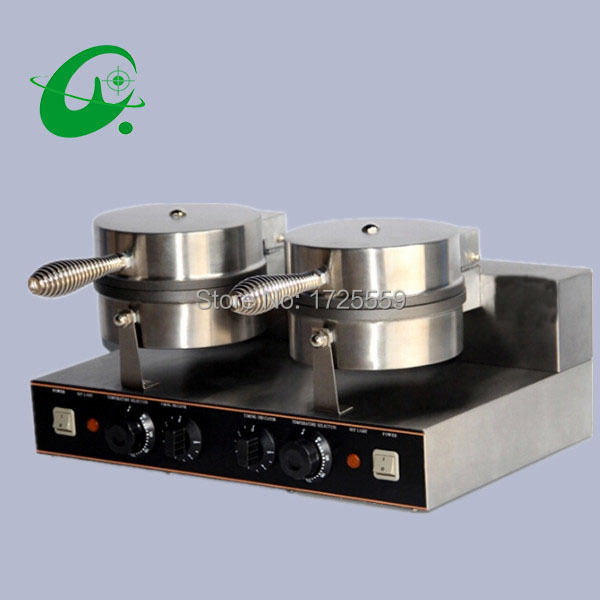 Commercial Double head ice cream cone machine, Waffle cone maker Non stick coating waffle cone maker