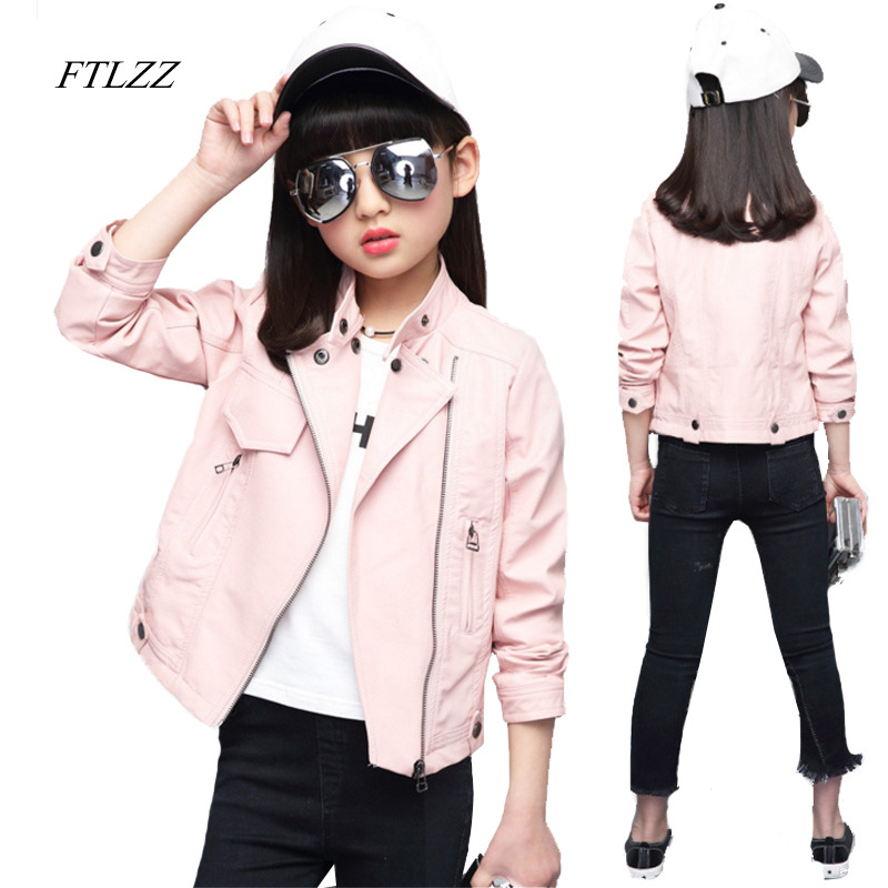 Spring & Autumn Fashion Girl Kids Leather Jacket Girls Pu Jacket Children Leather Outwear For Big Baby Girl Jackets And Coats