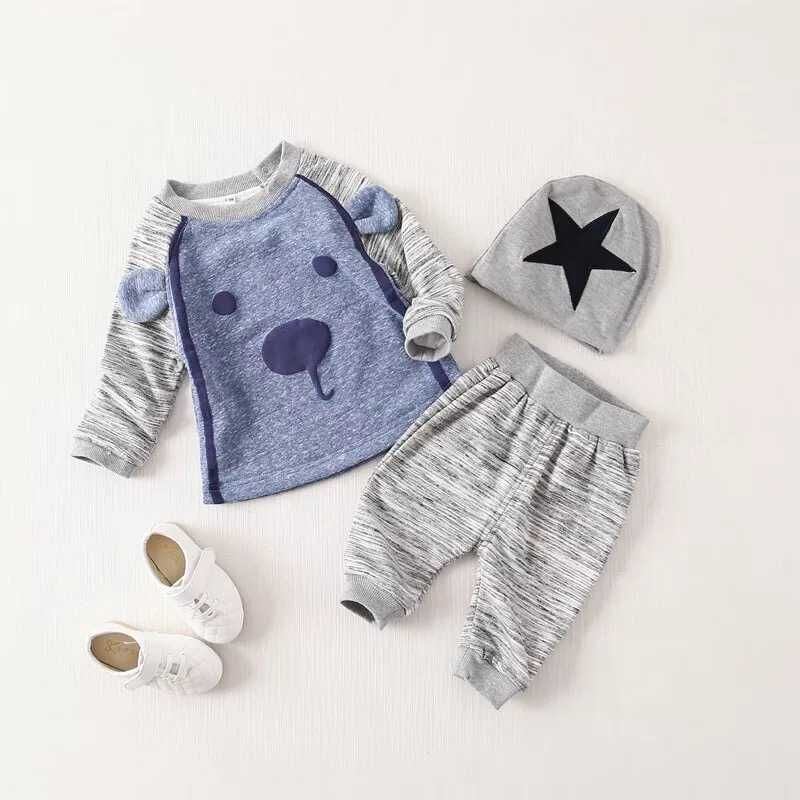 (3pcs/set) littler bear baby boy clothes with free hat kids christmas clothing set