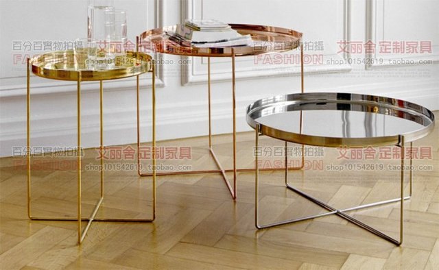 Post Modern Stainless Steel Rose Gold Small Round Coffee Table Minimalist Corner And