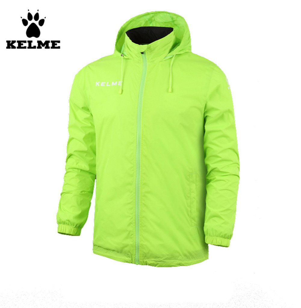 Kelme Children Stand Collar Waterproof Raincoats Hooded Jacket K15S606 Fluorescent Green stand collar 3d flower printed jacket