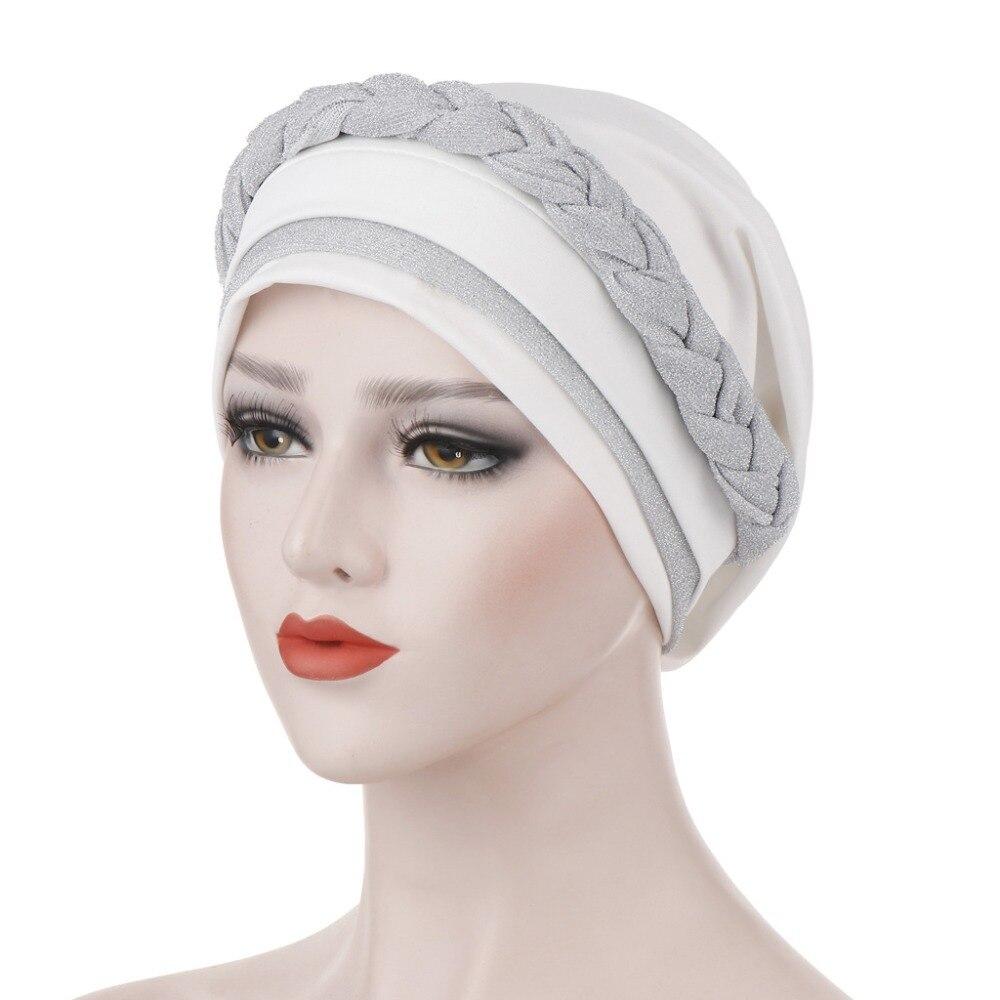 Turban Hat Cancer Chemo Beanies Cap Hijab Muslim Women Silky Bright Wire Braid   Headwear   Headwrap Hair Loss Accessories