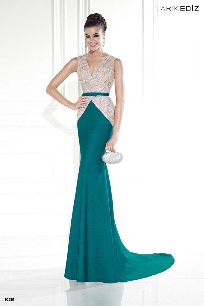2015 Gorgeous Backless Mermaid Prom Dress Sparkly Beaded Tarik Ediz ...