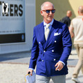 УР 61 Тонкий Синий Тенденция Господа Ручной Плюс Размер Костюма Homme Блейзер Смокинг Свадебные Мужчины Сшитое Мужчины Костюм Куртка одежда