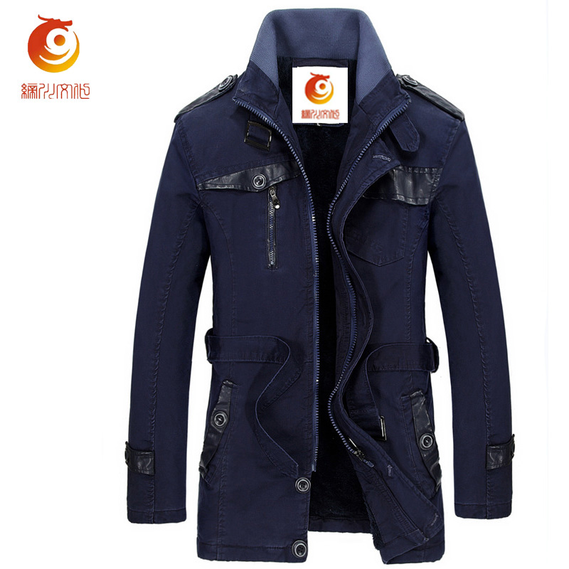2017 Spring Men's Casual Windbreaker Jacket Winter Long Trench Coats Thick Brand Clothing Warm Zipper Trenchcoat Plus Size 3XL