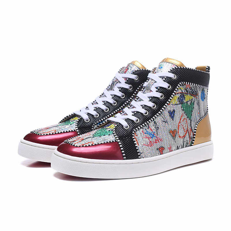 New Red patent leather Men Mixed Colors with sequins or glitter Luxury  Brand shoes Sneakers Leather b108eab6bc68