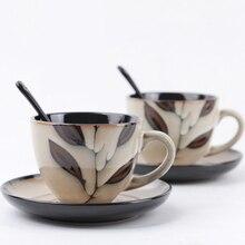 Vintage coffee cups set Ceramic Mug cup and saucers Spoon Bone China tea design tazas de cafe espresso european