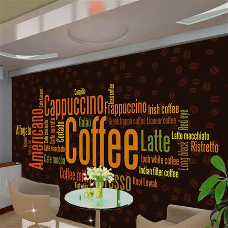 Beibehang Custom Wallpaper 3d Photo Mural Personalized Coffee English Fashion Continental Cafe Backdrop Wall Creative Wallpaper