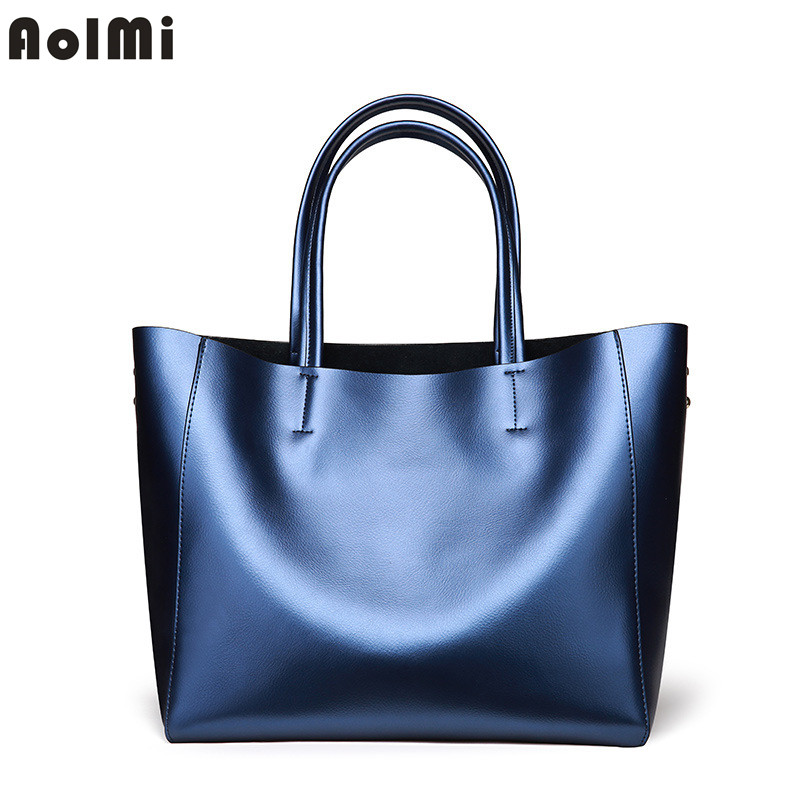 AolMi Fashion Genuine Leather Shoulder Bag Luxury Brand Handbags Women Bags Designer Lager Capacity Casual Tote Bag Solid Color chispaulo women genuine leather handbags cowhide patent famous brands designer handbags high quality tote bag bolsa tassel c165