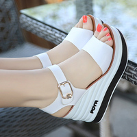 2018 Summer New Leather High Heel Wedge Female Sandals Sponge Cake With Open Toe Thick Female Shoes
