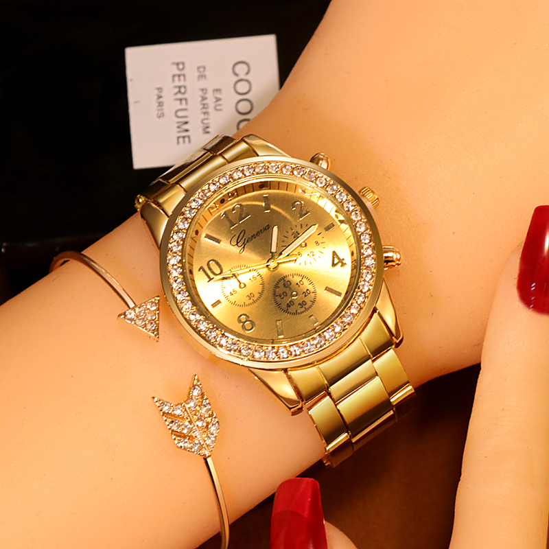 Women's Watches Geneva Classic Luxury Rhinestone Watch Women Watches Ladies Fashion Gold Watch Clock Reloj Mujer Montre Femme