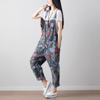 Streetwear Summer Women Jumpsuits Floral Printed Rompers Sexy Loose Backless Women Pockets Drop Crotch Denim Rompers Harajuku