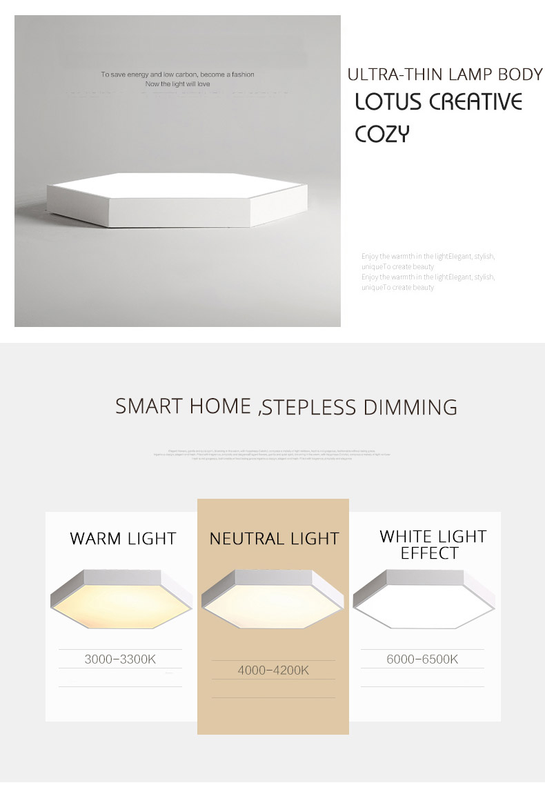 HTB1uhRmV9zqK1RjSZFjq6zlCFXak DX Hexagon LED Ceiling Light Modern Lamp Living Room Lighting Fixture Bedroom Kitchen Surface Mount Flush Panel Remote Control