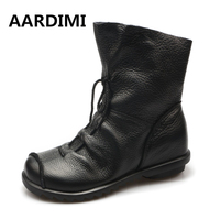 Top Quality Handmade Women Shoes Genuine Leather Women Boots Martins Spring Autumn Vintage Ankle Boots Flat