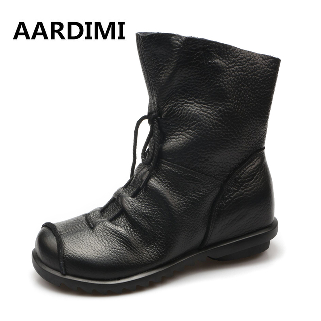 En Kaliteli El Yapımı Kadın Ayakkabı Hakiki Deri Kadın Çizmeler Martins İlkbahar & Sonbahar Bağbozumu Ayak Bileği Çizmeler Düz Bootie Botas Mujer