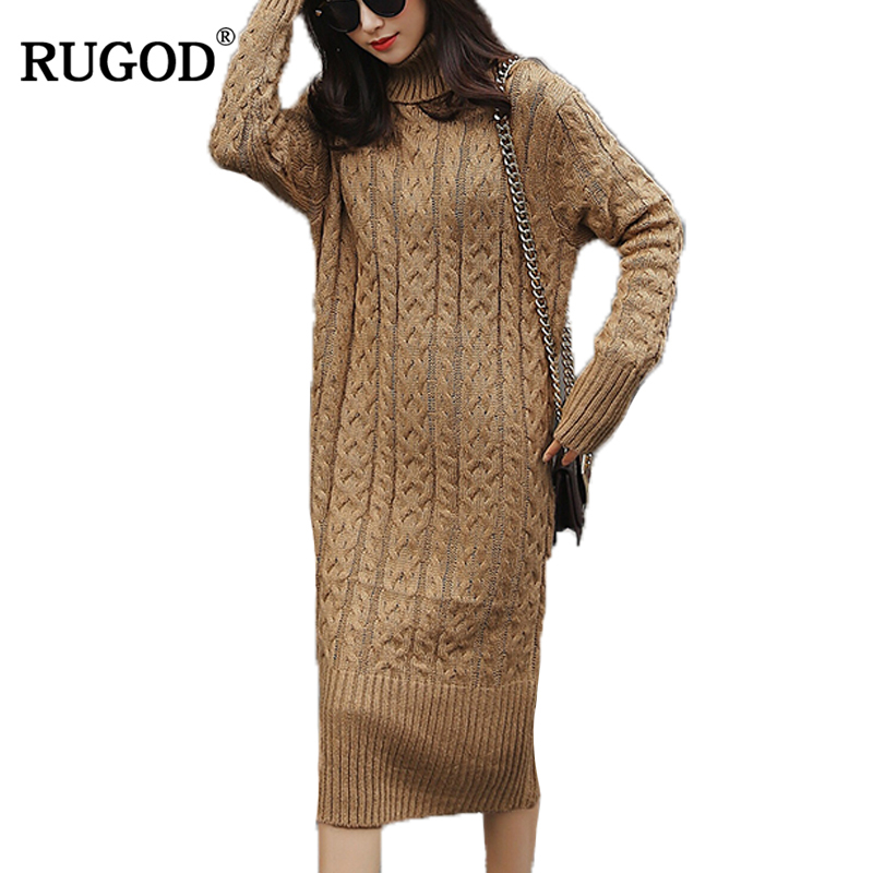 RUGOD Solid Hot Sale Women's Turtlenck Mid-Calf Straight Dress For Women Spring 2018 Fashionable Knitted Long Sleeve vestido ночная сорочка 2 штуки quelle quelle 966812