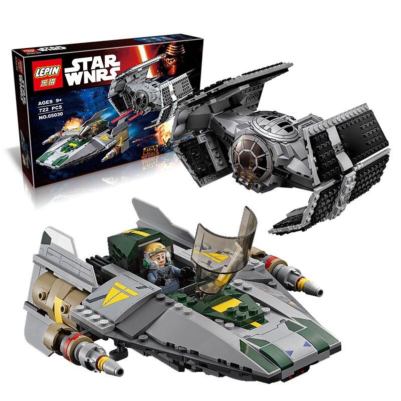 722Pcs 05030 font b LEPIN b font Star Wars Vader Tie Advanced VS A wing Starfighter