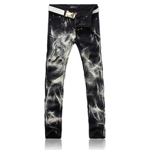 European Style Trendy Fashion Jeans for Men Mid Waist Straight Printed Jeans Zipper Fly Causal Cotton Jeans for Sale NZK-001