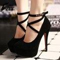 Mulheres Sexy Fundo Vermelho Sapatos de Salto Alto Mulher com Tira No Tornozelo Alta Sapatos de plataforma saltos Bombas Senhoras de Salto Alto Sapatos de Casamento Preto vermelho