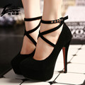 Sexy Women Red Bottom High Heel Shoes Woman Ankle Strap High Heels platform Shoes Pumps Ladies High Heel Wedding Shoes Black red