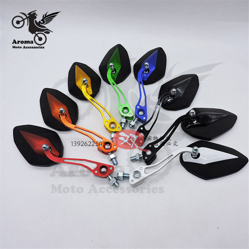 10mm 8mm Colorful Decal Moto Rear View Mirrors Cafe Racer Motorbike Side Mirror For Vespa Piaggio  Parts Motocross ATV Off-road Rear View Scooter Accessories Racing Dirtbike Colorful Pitbike  Motorcycle Rearview Mirror