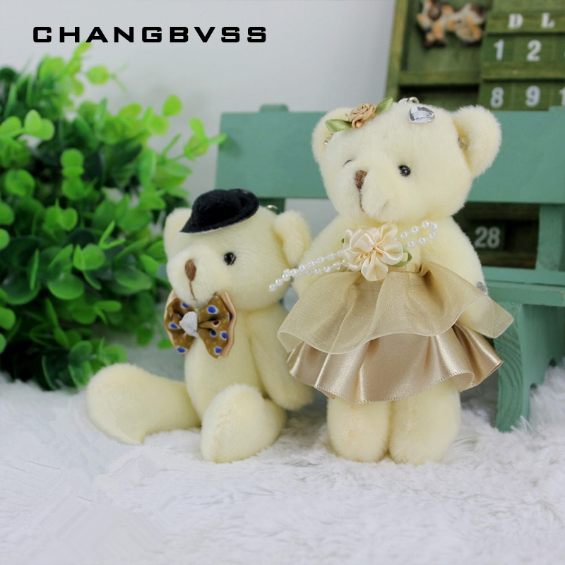 2 pcs/lot Gentle Bear Stuffed Toys Gift For Weeding 12cm Couples Bear Plush Toys Home Decor Stuffed Plush Animals pelucias image