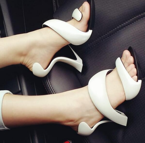 Women Shoes Ankle Peep Toe High heel Newest Real Photo Sandals Hot sale White/Rose Red/Green spiral design summer party shoes