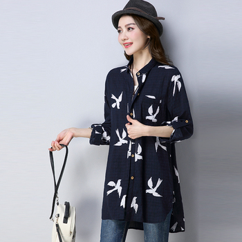 #2908 Spring 2020 Long Sleeve Shirt Women Animal Print Cardigan Shirt Tunic Plus Size Loose Vintage Cotton Linen Blouse Female