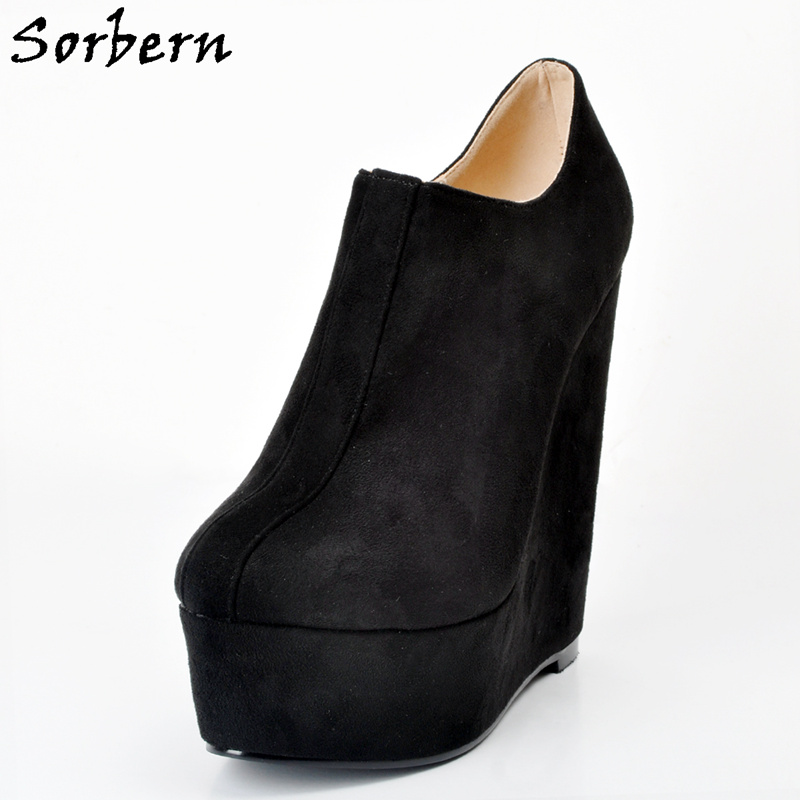 Sorbern Black Round Toe Slip On Women Pumps Shoes Woman Zapatos Mujer Ladies Shoes Platform Sapatos Mulher Plus Size 34-47 pinsen women flat platform shoes woman moccasin zapatos mujer platform sandals slip on for ladies shoes casual flats moccasins