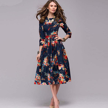 Zebery Three-quarter Sleeve Flower Pleated Dress For Woman Dark Blue Retro A-Line High Waist Dress Evening Vestido For Woman