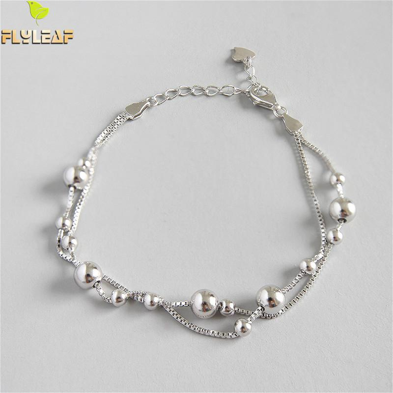 Flyleaf 925 Sterling Silver Bracelets For Women  Beads Box Chain Double Layer Simple Fashion Fine Jewelry Bracelets & BanglesFlyleaf 925 Sterling Silver Bracelets For Women  Beads Box Chain Double Layer Simple Fashion Fine Jewelry Bracelets & Bangles