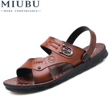 MIUBU Classic Men Soft Sandals Comfortable Summer Shoes Leather Roman Beach