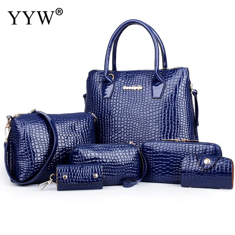 New Fashion 6 PCS/Set Dark Blue PU Leather Handbags Women Bag Set Brand Top-Handle Bag Lady's Shoulder Crossbody Bags Clutch Bag brand new a155 6 48 288