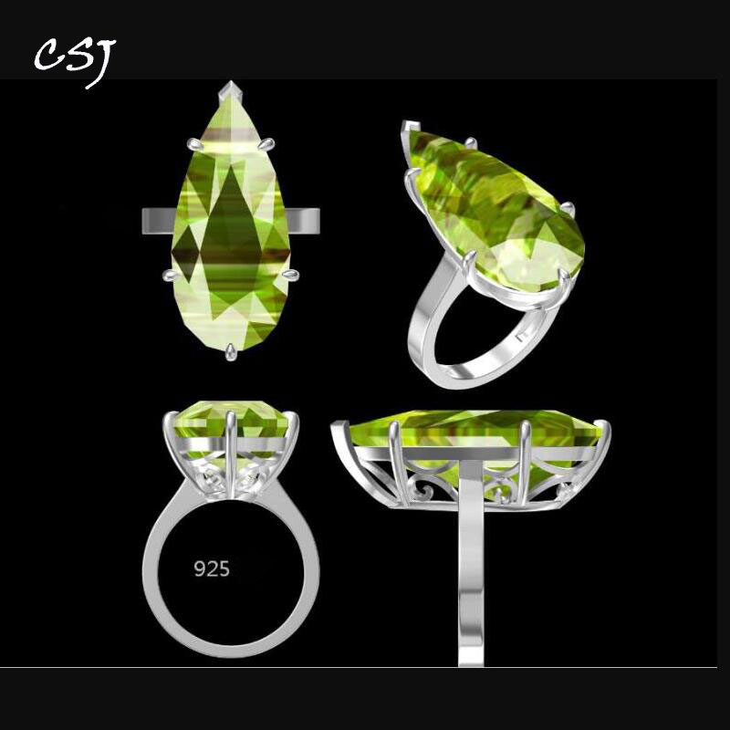 CSJ Fine Jewelry Custom Made Genuine Natural Gemstone For Diy Jewelry 925 Silver Gold Fine Cutting Gem Ring-in Rings from Jewelry & Accessories    1